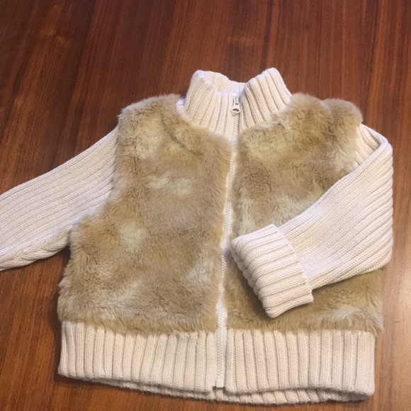 GAP Other - Baby Gap Beige Fuax Fur and Knit Coat